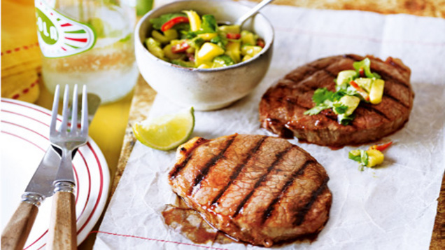 Barbecue steak with lime and mango salsa recipe
