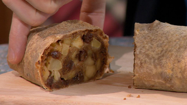 Episode 4 Technical Challenge - Apple & Ginger Strudel with Honey & Walnut Cream.