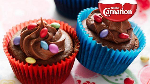 Smartie Chocolate Cupcakes