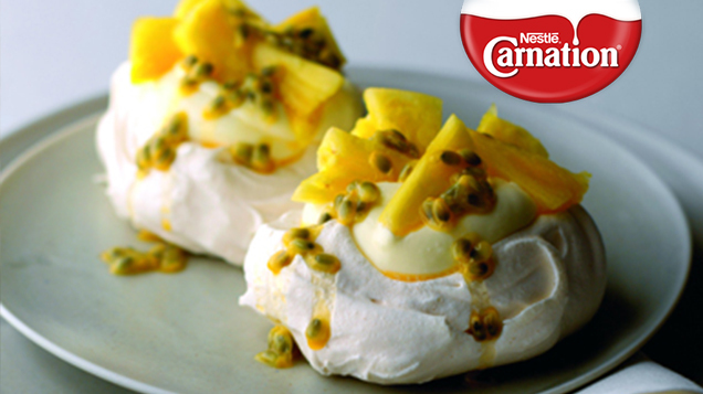 Tropical Meringues with Lemon Cream