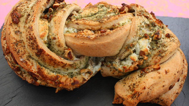 Alex\'s Savoury Bread: Walnut, Goats cheese and rocket loaf served with a pear chutney