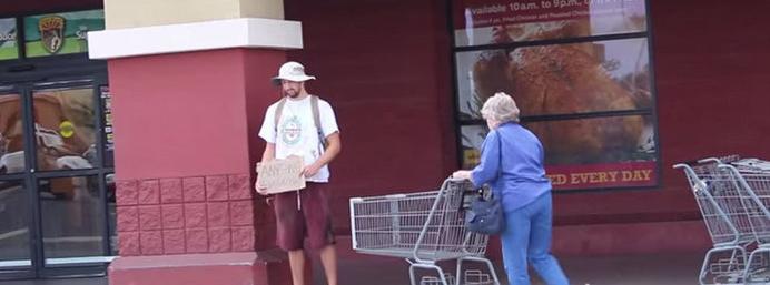 Watch: Fake homeless man rewards the generosity of strangers!