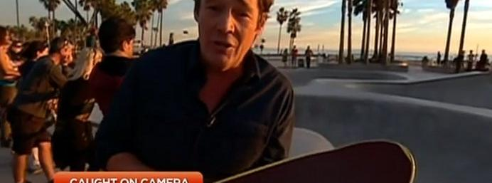 Watch: Reporter gets hit in the head by a skateboard...