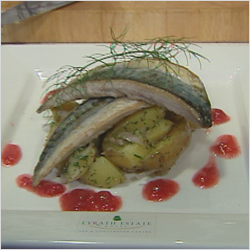 Pan fried fillet of line caught Mackerel, New Potato and Fennel Salad, Wild Raspberry Dressing