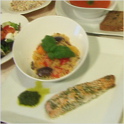 Baked Darne of Salmon marinated in Basil, Parsley and Coriander served with Salsa Verde, Wholegrain