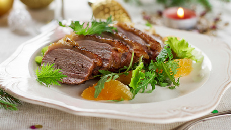 Duck breast with summer vegetables