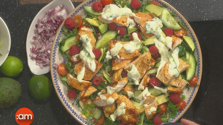 Warm Salad with Cajun Chicken and a Lime and Yoghurt Dressing