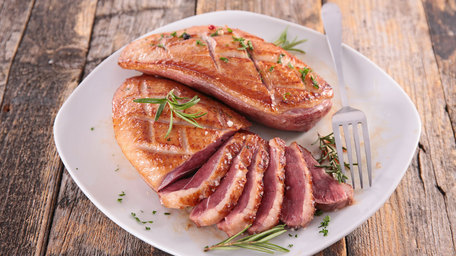 Baked Duck Breast with Polenta Cake