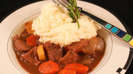 Joe's Beef and Guinness Casserole with Potatoes Champ