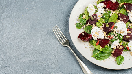 Roast beetroot salad with tahini dressing and grilled halloumi