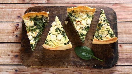Catherine Leyden: Goats Cheese, Red Pepper & Pine Nut Quiche