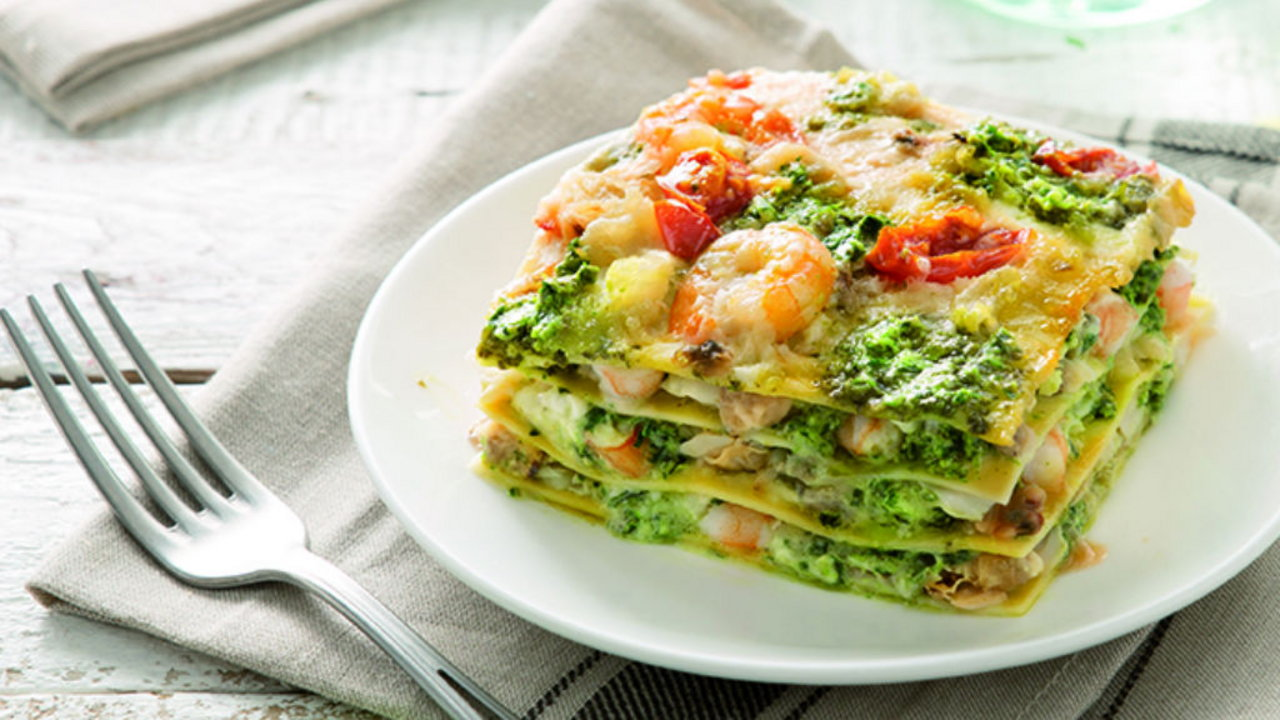 Lasagne with Pesto Genovese and Seafood