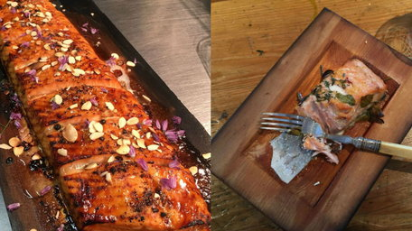 Hot smoked trout on Cedar Planks with an Apple and Fennel Slaw