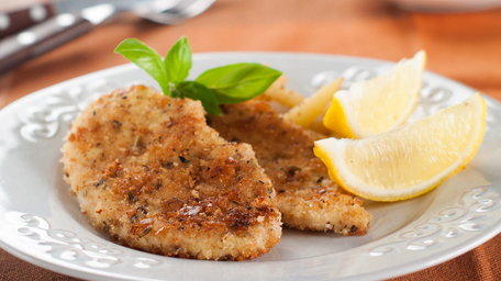 Chicken Escalopes with a Herb and Parmesan Crumb, Anchovy & Lemon, Broccoli & Almond
