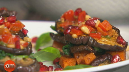 [WATCH] Marinated aubergine and sweet potato tower