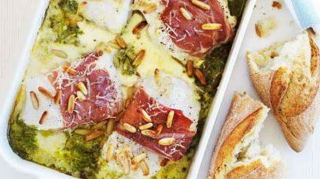 Baked cod with parma ham and pesto