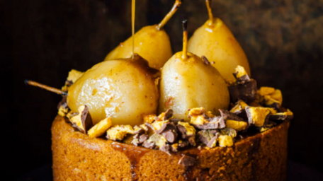 Baked Ginger Pudding, Cinnamon Roasted Pears with Butterscotch Sauce