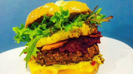 Tofu, chestnut, black bean burger