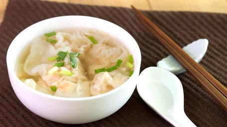 Wonton soup with green pak choi