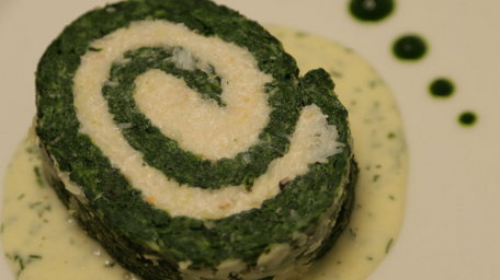 Crab & spinach roulade with dill cream sauce