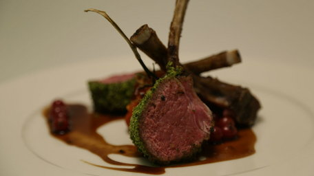Connemara Hill rack of lamb with herby crust, baby roasted rosemary potatoes & peas