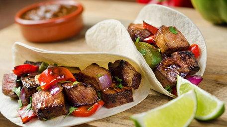 Rib Eye Steak Tacos with Apple Slaw and Chipotle Crema