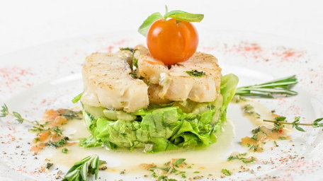 Roast fillet of Halibut with courgette