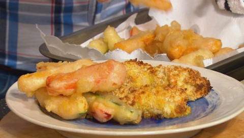 Cod goujons with tempura chips