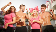 3player | The Magaluf Weekender, 26/07/2014.  Bedford girls Tish, Lexi and Chloe and Essex lads Joey, Steve and Mason arrive for some fun in the sun